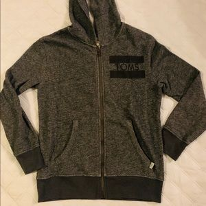 TOMS ZIP UP HOODIE CHARCOAL AND GREY SIZE 8-10